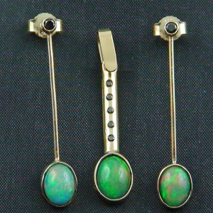 14k Ohrringe und Anhänger, Welo Opale, Diamanten