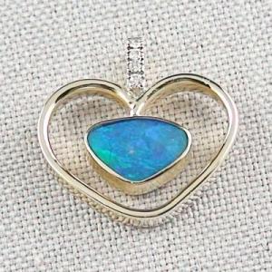 14k Gelbgold Herz-Anhänger m. Black Crystal Opal u. Diamanten