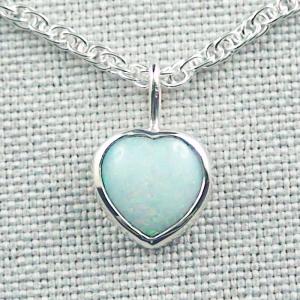 Herz-Opalanhänger 1,38 ct White Opal mit 935er Silberkette