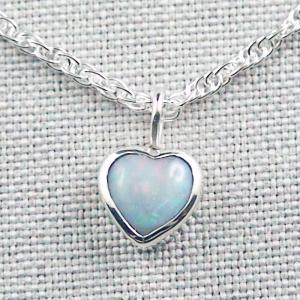 Herz-Opalanhänger 1,13 ct White Opal mit 935er Silberkette