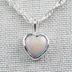 Herzanhänger 0,98 ct White Opal mit 935er Silberkette Silberanhänger