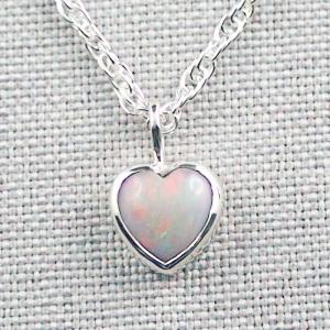 Herzanhänger 1,01 ct White Opal mit 935er Silberkette Silberanhänger