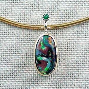 14k Goldanhänger 3,38 ct mit Koroit Boulder Opal Opal-Anhänger