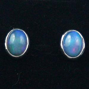 925er Silber Opal Ohrstecker 2,51 ct. Blaue Welo Opale Ohrringe
