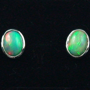 925er Ohrstecker 2,17 ct. Grüne Welo Opale Ohrringe Opalohrstecker
