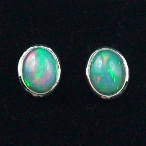 925er Ohrstecker 2,55 ct. Grüne Multicolor Welo Opale Ohrringe Opalohrstecker