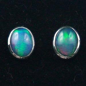 925er Ohrstecker 2,11 ct. Blau Grüne Welo Opale Ohrringe Opalohrstecker