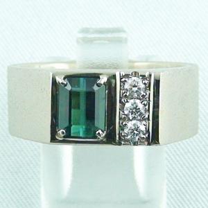750er Palladium-Weißgoldring, 1,54 ct Indigolith, Diamanten