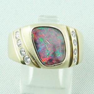 Massiver Goldring 2,20 ct Boulder Opal, 0,32 ct Diamanten