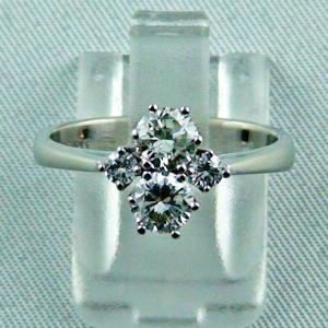 Edler Damenring, Brilliant-Weiss-Goldring 18k, 4 Diamanten