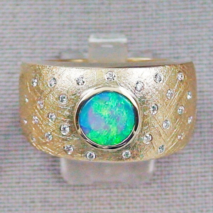 750er 18K Goldring Black Crystal Opal Diamanten Herrenring