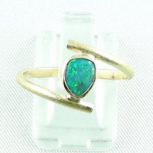 18k Opalring, 750er Goldring, 0,64 ct Black Crystal Opal