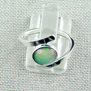 935er Silberring mit 0,89 ct. Welo Opal Grüner Opalring