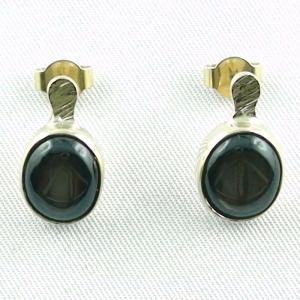 18k 750er Ohrstecker mit Sternsaphir Zwei Ohrringe Goldohrringe