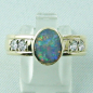 Mobile Preview: Auftragsarbeit: Massiver 18k Goldring mit Semi Black Opal u. Diamanten, Bild1