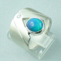 Preview: Massiver 925er Sterling Silber Designerring 1,68 ct mit Welo Opal u. 0,05 ct Diamant - Video & Zertifikat | Deutscher Schmuckhändler