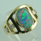 Preview: Goldring 585, Schwarzopal, Diamanten, Black Opal, Opalring, Bild2