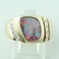 Preview: Massiver Goldring 2,20 ct Boulder Opal und 0,32 ct Diamanten, Bild1