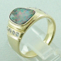 Preview: Massiver Goldring 2,20 ct Boulder Opal und 0,32 ct Diamanten, Bild3
