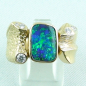 Preview: 750er Boulder Opal Goldring 18k, 7 Diamanten, Herrenring, Bild1
