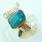 Preview: 750er Boulder Opal Goldring 18k, 7 Diamanten, Herrenring, Bild2