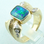 Preview: 750er Boulder Opal Goldring 18k, 7 Diamanten, Herrenring, Bild3