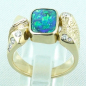 Preview: 750er Boulder Opal Goldring 18k, 7 Diamanten, Herrenring, Bild4