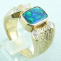 Preview: 750er Boulder Opal Goldring 18k, 7 Diamanten, Herrenring, Bild5