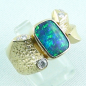 Preview: 750er Boulder Opal Goldring 18k, 7 Diamanten, Herrenring, Bild6