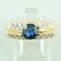 Preview: 18k Herrenring, Goldring mit 1,21 ct Saphir, Diamanten, Bild1