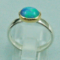 Preview: Massiver 935er Silberring mit 1,24 CT Welo Opal in Goldfassung 55 mm / 17,50 mm multicolor