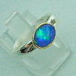 Preview: Massiver Opal-Ring 935er Silberring mit 1,21 ct blauen Welo Opal Goldfassung