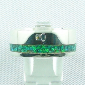 Opalring 11,57 gr, Silberring mit Opal Inlay Emerald Green, Herrenring
