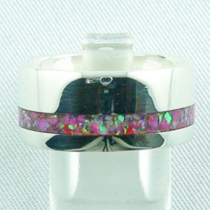 Damenring, Opalring 9,66 gr, Silberring mit Opal Inlay hot pink