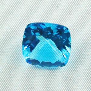 Swiss Blue Blautopas 11,32 ct custom cushion cut - Video & Zertifikat