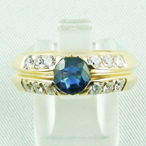 18k Herrenring, Goldring mit 1,21 ct Saphir, Diamanten, Bild1