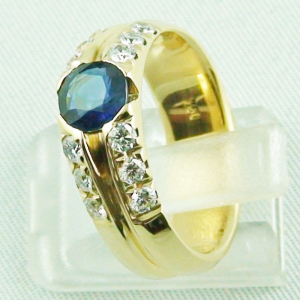 18k Herrenring, Goldring mit 1,21 ct Saphir, Diamanten, Bild4