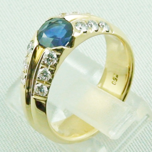 18k Herrenring, Goldring mit 1,21 ct Saphir, Diamanten, Bild5