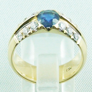 18k Herrenring, Goldring mit 1,21 ct Saphir, Diamanten, Bild6
