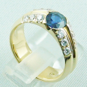 18k Herrenring, Goldring mit 1,21 ct Saphir, Diamanten, Bild7
