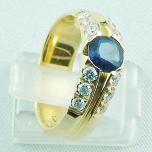 18k Herrenring, Goldring mit 1,21 ct Saphir, Diamanten, Bild8