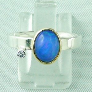 4,66 gr Silberring, Welo Opal 1,23 ct in 18k Gold u Diamant, Bild1