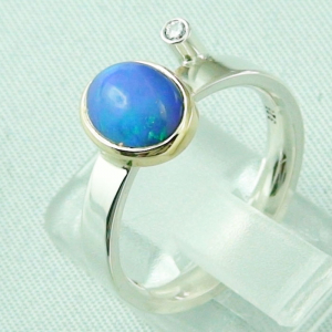 4,66 gr Silberring, Welo Opal 1,23 ct in 18k Gold u Diamant, Bild3