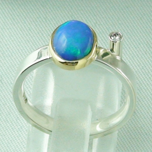 4,66 gr Silberring, Welo Opal 1,23 ct in 18k Gold u Diamant, Bild4