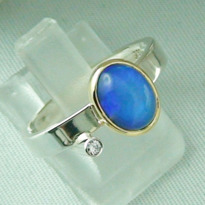4,66 gr Silberring, Welo Opal 1,23 ct in 18k Gold u Diamant, Bild6