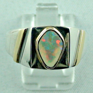 Sterling Silberring 14k Gold, Opalring mit White Opal, Bild1