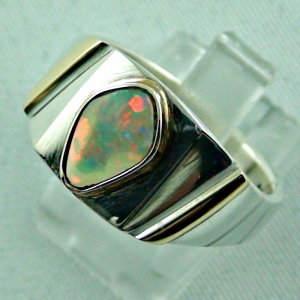 Sterling Silberring 14k Gold, Opalring mit White Opal, Bild2