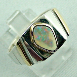 Sterling Silberring 14k Gold, Opalring mit White Opal, Bild6