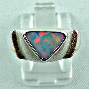 Massiver Sterling Silberring - Rotgoldring 18 k mit Top GEM White Opal