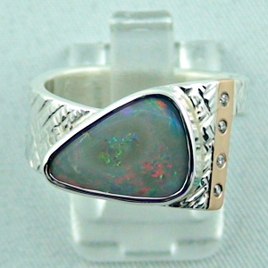 Sterling Silberring - Rotgoldring 18 k mit Semi Black Opal und Diamanten